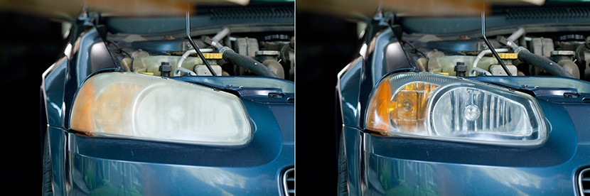 Polishing Headlights before/after