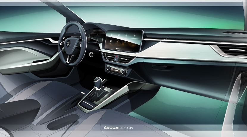 Skoda Scala interior sketch
