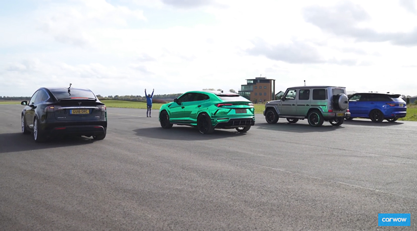 Drag Race in video of the Tesla Model X P100D with Lamborghini Urus, Mercedes-AMG G 63 and Range Rover Sport SVR